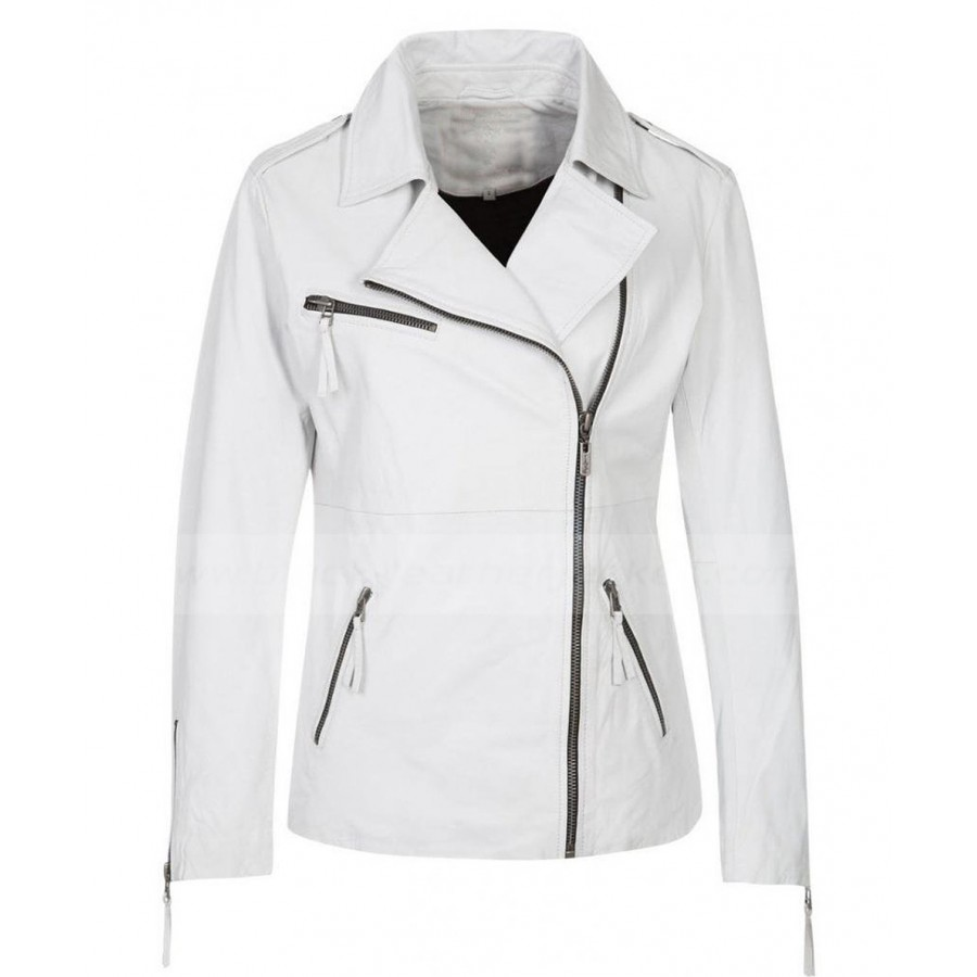 Womens White Motorcycle Jacket | Asymmetrical Leather Biker Jacket