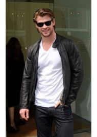 Australian Actor Chris Hemsworth Black Leather Jacket