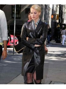 Australian Movie Actress Margot Robbie Leather Coat