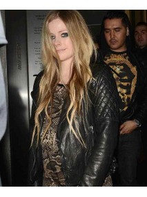 Avril Lavigne Black Quilted Leather Biker Jacket