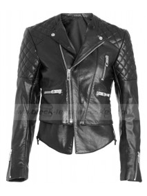 Miranda Kerr Balenciaga Quilted Leather Biker Jacket