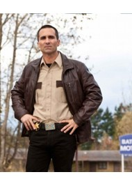 Bates Motel Vintage Brown Leather Jacket
