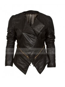 Asymmetric Biker Black Collarless Leather Jacket Womens