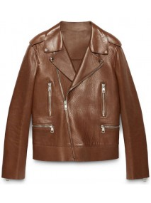 Blake Lively Brown Leather Biker Jacket
