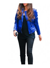Biker Style Camila Alves Blue Leather Jacket