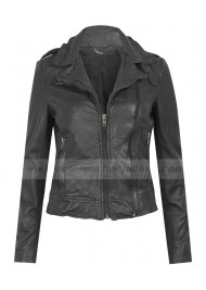 Biker Grey Leather Jacket Womens