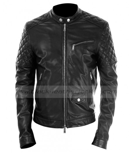 Mens Black Leather Quilted Motorcycle Jacket