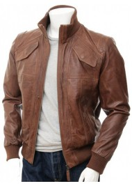 Men's Biker Brown Bomber Leather Jacket