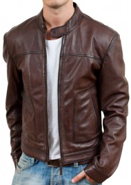 Men's Casual Wear Brown Biker Style Leather Jacket