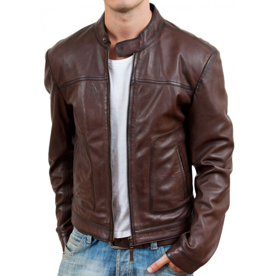Casual Wear Brown Biker Style Leather Jacket