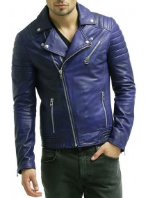 Biker Mens Padded Blue Jacket