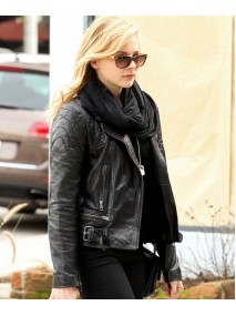 Chloe Moretz Black Leather Quilted Biker Jacket