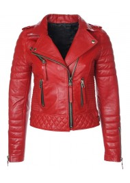 Biker Quilted Red Leather Jacket Womens