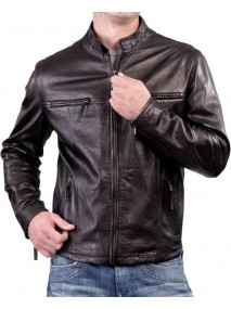Biker Slim Fit Casual Dark Brown Leather Jacket