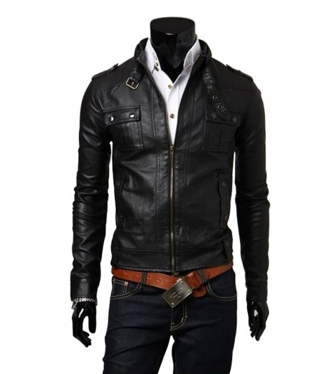 Biker Style Mens Slim Fit Black Faux Leather Jacket
