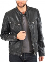 Men's Designer Biker Style Black Leather Jacket
