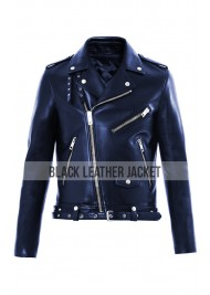 Biker Style Jared Leto Blue Leather Jacket