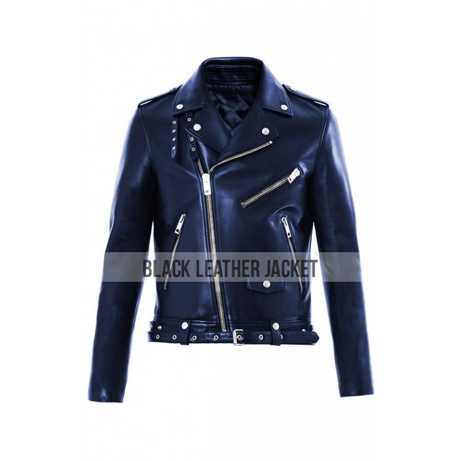 Jared Leto Jacket | Mens Biker Style Blue Leather Jacket