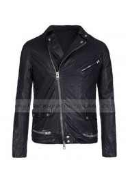 Biker Style Eddie Redmayne Black Leather Jacket
