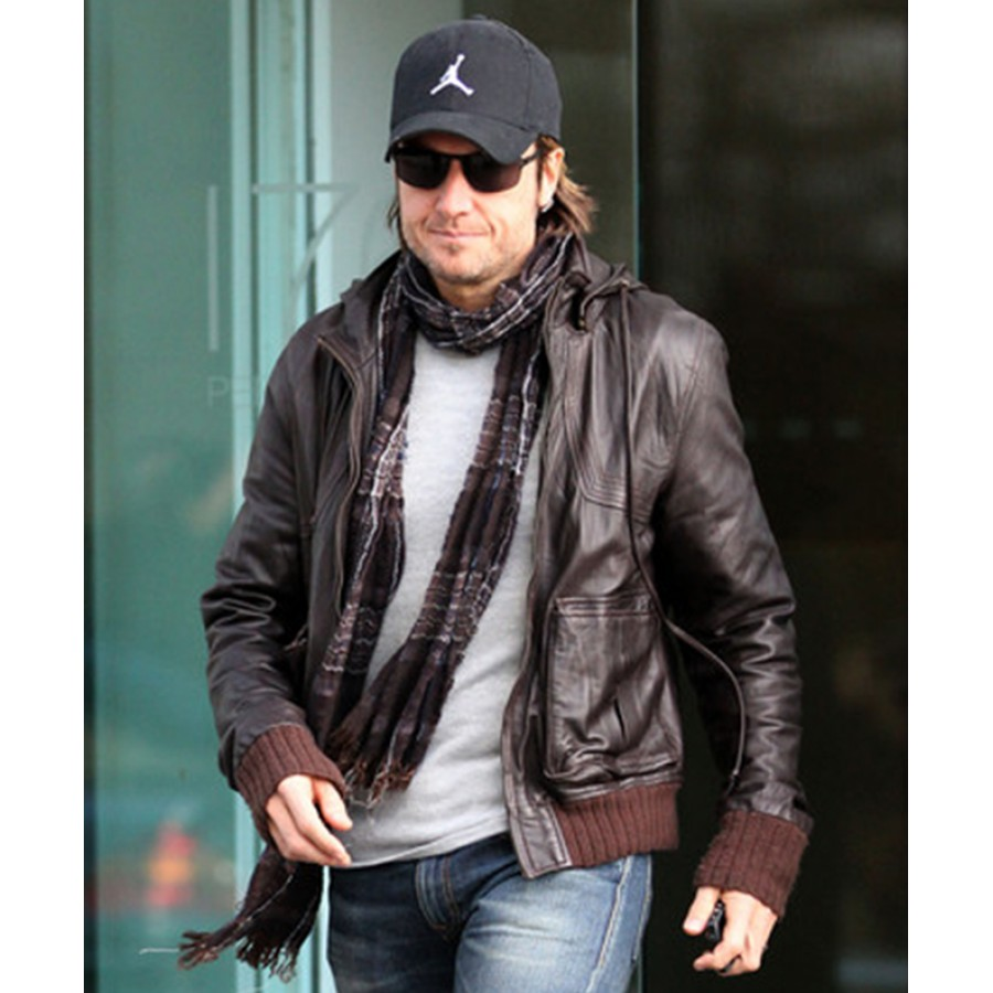 Brown with black leather jacket