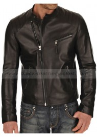 Biker Style Black Leather Jacket for Men