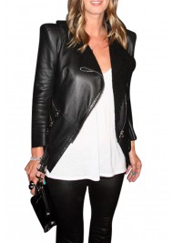 Biker Style Casual Nicky Hilton Black Leather Jacket
