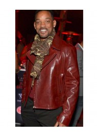 Biker Style Will Smith Red Leather Jacket