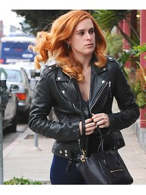 Biker Style Rumer Willis Black Leather Jacket