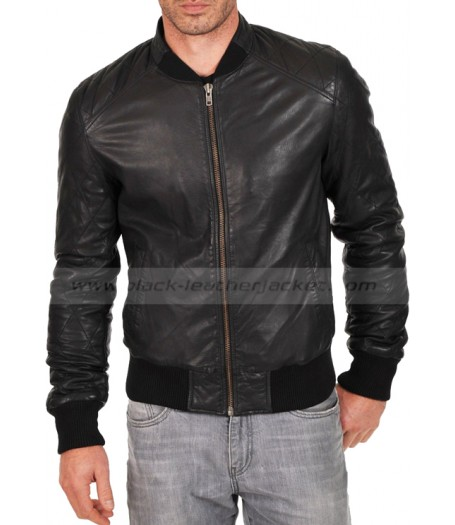 Biker Style Simple Look Black Leather Jacket for Men