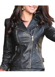 Biker Style Tulisa Contostavlos Black Leather Jacket