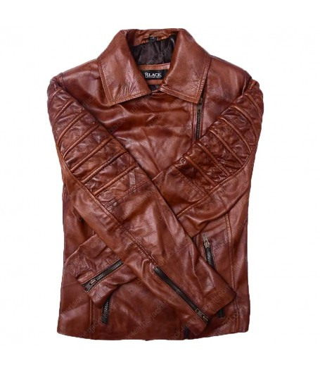 Biker Tan Brown Leather Jacket for Women