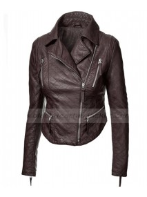 Womens Brown Faux Leather Biker Quilted Jacket