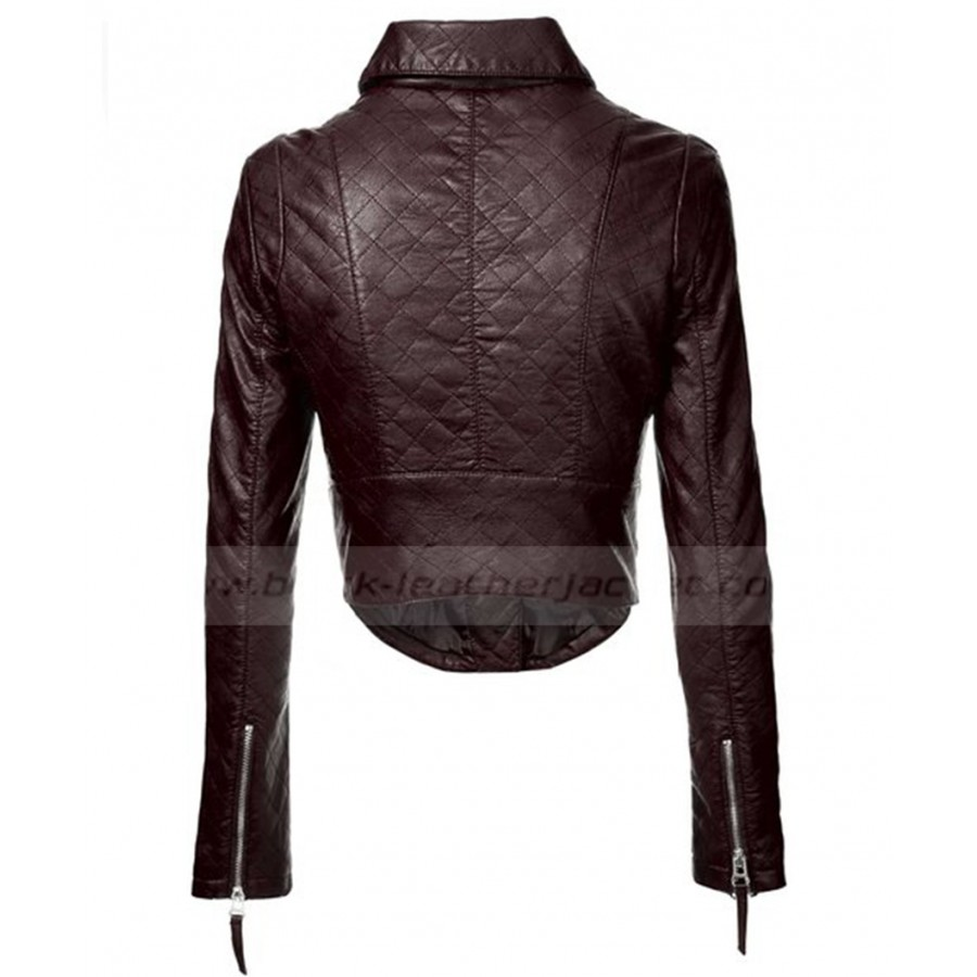 Womens Brown Faux Leather Jacket | Ladies Quilted Biker Jacket