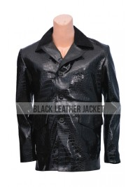Black Leather Alligator Coat For Men