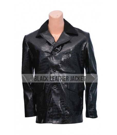 Alligator Black Leather Coat
