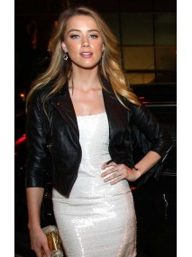 Amber Heard Black Leather Jacket