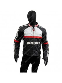 Black and White Motorcycle Ducati Corse Leather Jacket