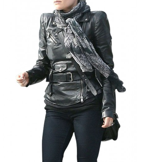 Anna Paquin Black Leather Biker Jacket