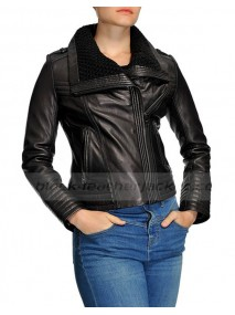 Shawl Collar Asymmetrical Black Leather Jacket Womens