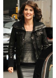 Cobie Smulders Black Leather Bomber Jacket