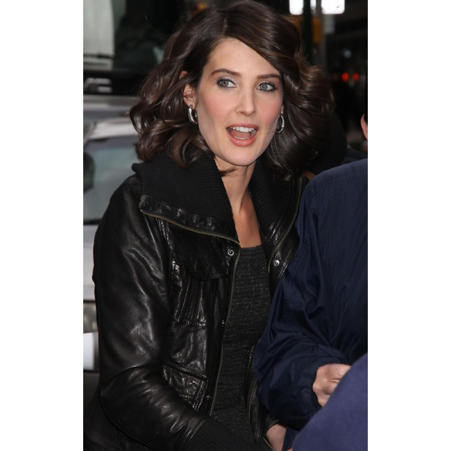 Cobie Smulders Leather Jacket | Women's Black Bomber Jacket