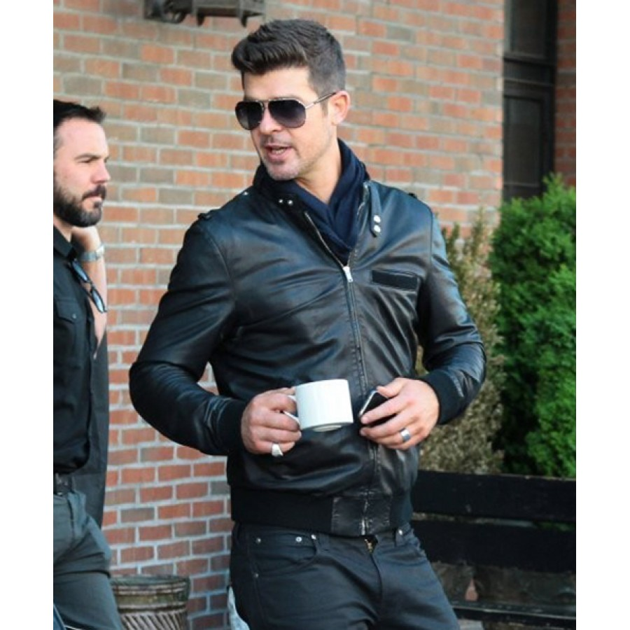 Robin Thicke Leather Jacket | Men's Black Bomber Style Jacket