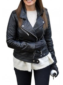 Carol Vorderman Black Leather Jacket