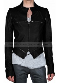 Christina Aguilera Black Leather Jacket