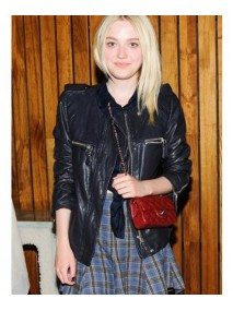 New York City Dakota Fanning Black Leather Jacket