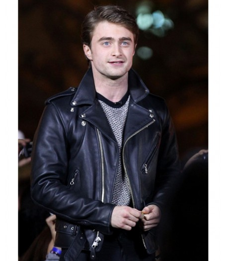Daniel Radcliffe Black Leather Biker Jacket