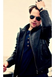 Danila Kozlovsky Black Leather Jacket