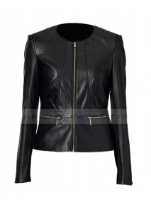 Dana Buchman Black Faux Leather Jacket