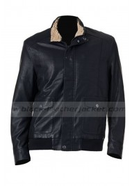 Men's Black Faux Leather Aviator Jacket