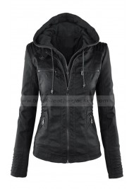Women's Black Faux Leather Hooded Jacket